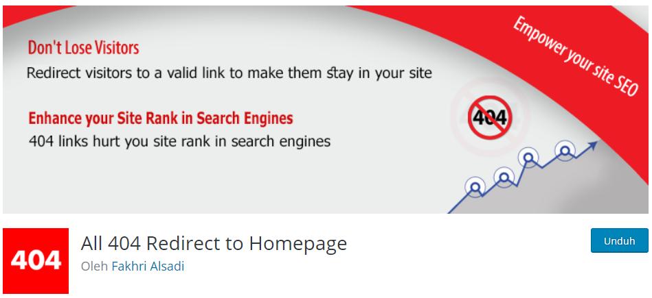 Plugin WordPress All 404 Redirect to Homepage